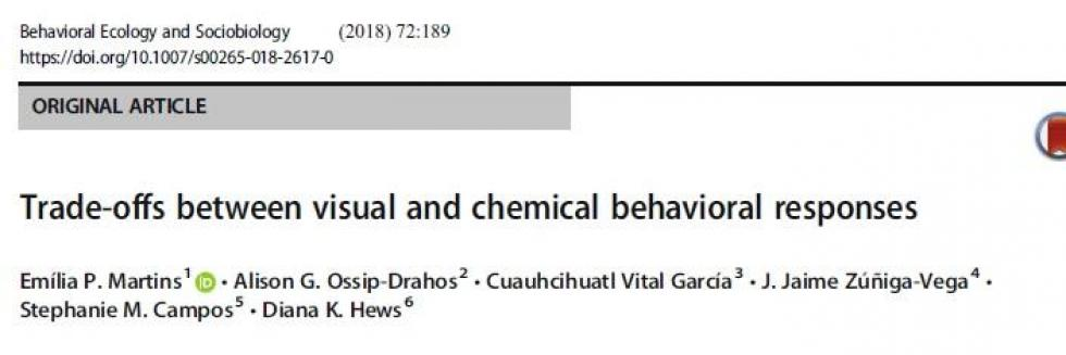 Martins et al. 2018. Tradeoffs between visual & chemical responses